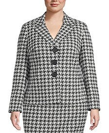 Plus Size Houndstooth Jacquard Jacket