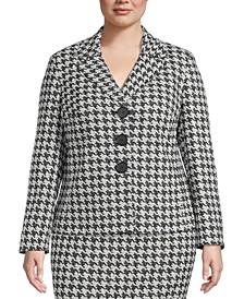 Plus Size Houndstooth Jacquard Jacket