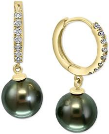 EFFY® Black Cultured Tahitian Pearl (10mm) & Diamond (3/8 ct. t.w.) Dangle Drop Earrings in 14k Gold