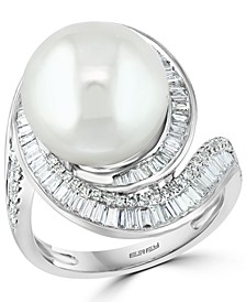 EFFY® Cultured Freshwater Pearl (12-1/2mm) & Diamond (3/4 ct. t.w.) Ring in 14k White Gold