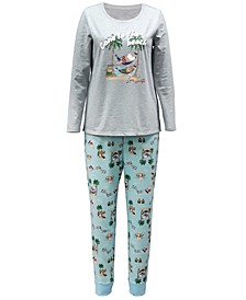Matching Women's Tropical Santa Family Pajama Set, Created for Macy's