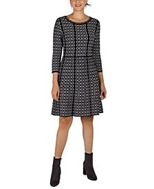 Contrast-Trim Patterned Knit Dress
