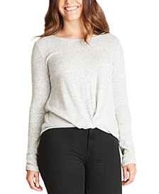 Juniors' Twist-Front Fuzzy Top