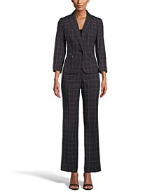 Windowpane Check One-Button Pantsuit