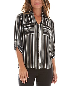 Juniors' Striped Tab-Sleeve Button-Front Shirt