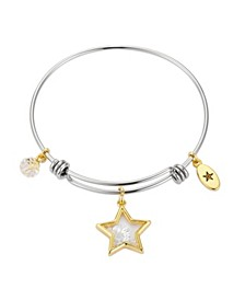Star with Clear Crystal Shaker Adjustable Bangle Bracelet in Gold Two-Tone Stainless Steel with Fine Silver Plated Charms