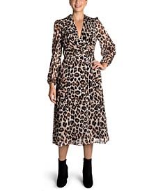 Leopard-Print Side-Tie Midi Dress