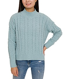 Juniors' Cable-Knit Mock-Neck Chenille Sweater