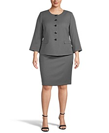 Plus Size Mini-Diamond Collarless Bracelet-Sleeve Skirt Suit