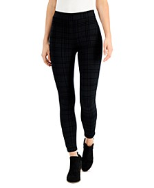Petite Plaid Flocked Ponté-Knit Pants, Created for Macy's