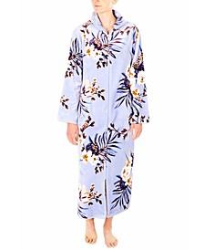 Floral-Print French Fleece Long Zipper Robe