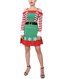 Juniors' Elf Cold-Shoulder Sweater Dress