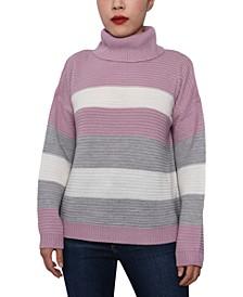 Juniors' Striped Cowl-Neck Sweater