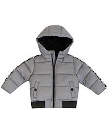 Baby Boys Heavy Weight Puffer Jacket with Logo Sleeve Taping