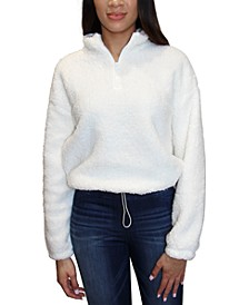 Juniors' Faux-Sherpa Quarter-Zip Top