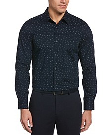 Men's Scattered Petals Long Sleeve Button-Down Stretch Shirt