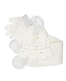 Big Girls Hat, Scarf and Gloves Set, 3 Piece Set