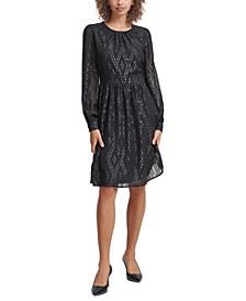 Metallic Clip-Dot A-Line Dress