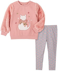 2 Piece Little Girls Fleece with Faux Fur Sleeve Cat Top and Hearts Legging Set