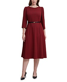 Plus Size Belted Houndstooth Midi Dress