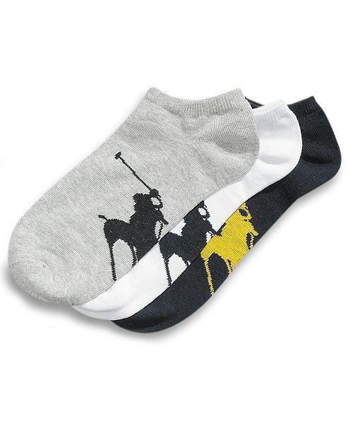 Polo Ralph Lauren Men's Socks, Athletic Big Polo Player Sole Men's Socks 3-Pack