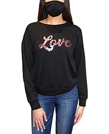 Crave Frame Juniors' Sequin Sweatshirt & Face Mask