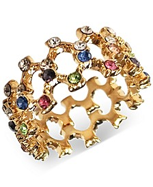 INC Gold-Tone Multicolored Stone Openwork Ring, Created for Macy's