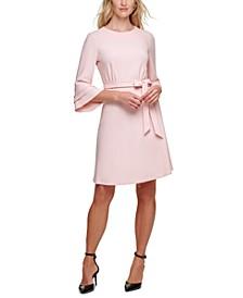 Belted Fluted-Sleeve Dress