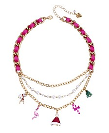 "Festive Flamingo Mixed Charm Necklace,16"" + 3"" extender"