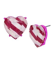 Peppermint Heart Stud Earrings