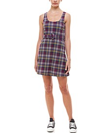 Juniors' Belted Plaid Dress