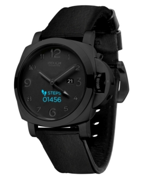 Connected Men's Hybrid Smartwatch Fitness Tracker: Black Case with Black Silicone Strap 44mm