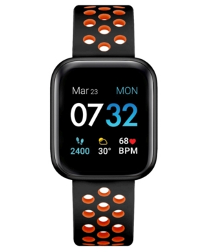 Air 3 Men's Touchscreen Smartwatch Fitness Tracker: Black Case with Black/Orange Perforated Strap 44mm