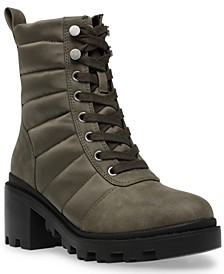 Nilda Trapunto Lace-Up Lugsole Booties
