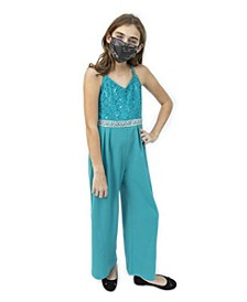 Big Girls Lace and Rhinestone Jumpsuit with Disco Dot Sparkle Mask