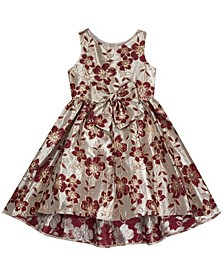 Toddler Girl Hi Low Brocade Dress With Bow