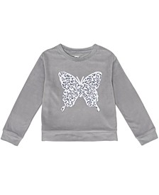 Toddler Girls Long Sleeve Flip Sequin Butterfly Velour Top