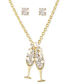 Gold-Tone Crystal & Imitation Pearl Champagne Pendant Necklace & Stud Earrings Set, Created for Macy's