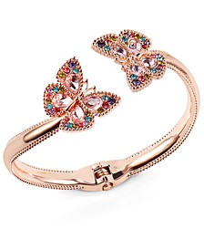 Rose Gold-Tone Multicolor Crystal Butterfly Cuff Bracelet, Created for Macy's