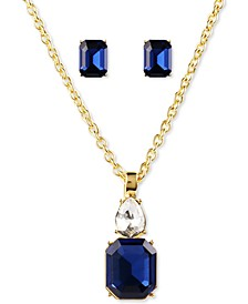 """Gold-Tone Montana Crystal Stud Earrings & Pendant Necklace Set, 17"""" + 2"""" extender, Created for Macy's"""