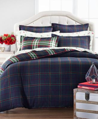 Midcentury Plaid Twin Duvet Cover, Created for Macys