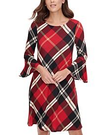 Plaid Bell-Sleeve A-Line Dress