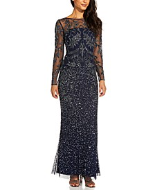 Beaded Illusion-Sleeve Gown