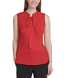 Sleeveless Tie-Neck Pleated Top