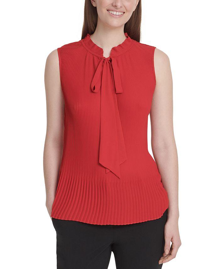 DKNY - Sleeveless Tie-Neck Pleated Top