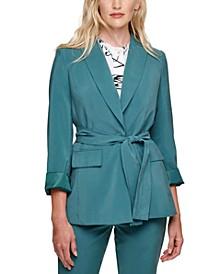 Long-Sleeve Belted Blazer