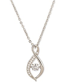 "Silver-Tone Dancing Crystal Twisted Pendant Necklace, 17"" + 2"" extender, Created for Macy's"