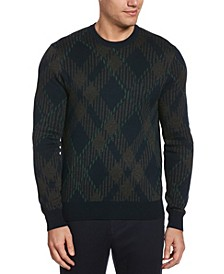 Men's Plaid Long Sleeve Crew Neck Sweater