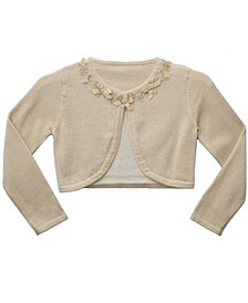 Little Girl Long Sleeve Lurex Fly Away Cardigan with Venise Trim