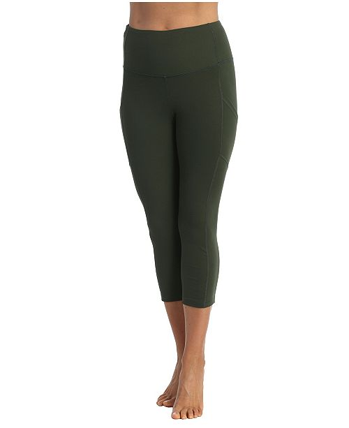 American Fitness Couture High Waist 3 4 Length Pocket Compression Leggings Reviews Pants Leggings Women Macy S
